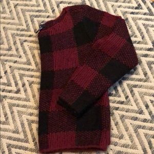 Black and red (maroon) checked cropped GAP sweater
